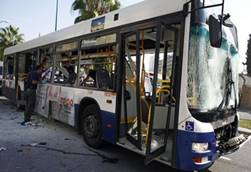 The crippled bus on Tel Aviv's Shaul Hamelech Road