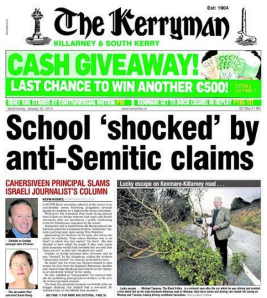 The Kerryman ran the story on its front page under dramatic banner headlines.