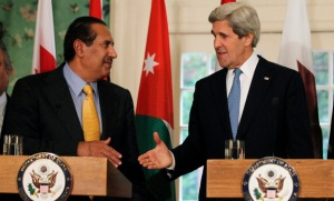 Qatar's premier Sheikh Hamad bin Jassim al-Thani (left) in Washington with US Secretary of State John Kerry
