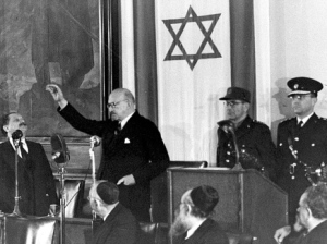 Nobody uses old-time handkerchiefs anymore- Chaim Weizmann taking the oath of office as Israel's first president on February 17, 1949