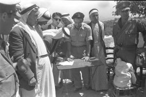 Umm el-Fahm leaders sign declarations of allegiance to Israel on May 20, 1949 after the Lausanne Conference Awarded the Wadi Ara region to Israel