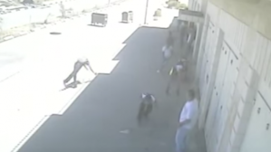 "freeze-frame from the surveillance footage: the ""victim"" clearly breaks his fall."