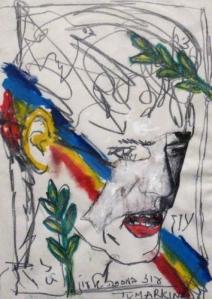 """Yigal Tumarkin's portrait of his friend Amos Oz, entitled """"Oz in a mask of Oz."""""""