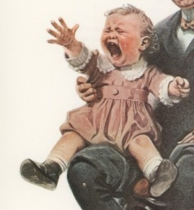 In most individuals, shock and awe antics abate over the years. But not always. (Norman Rockwell illustration, 1921)