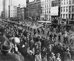The German American Bund parade on NYC's East 86th St. on October 30, 1939. Note the SS-like uniforms and Third Reich and Bund flags ahead of the American ones