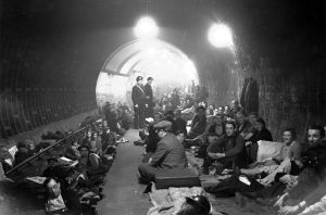 Londoners sheltering underground during the blitz: an attacked nation doesn't worry about the welfare of those striving to annihilate it