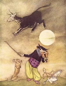 if we only pay up, the cat will ably strum jolly tunes on its fiddle [Arthur Rackham's illustration, 1913]