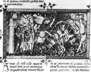 Medieval manuscript showing Jews burned at the stake in Flanders according to the popular antidote to the Black Death