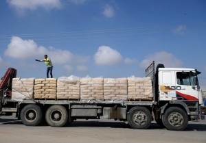 Cement entering Gaza from Israel last year at the Kerem Shalom Crossing