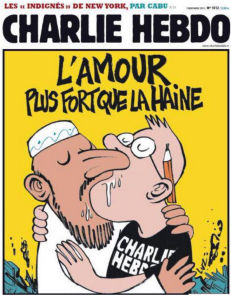 """Love is stronger than hate"": Charlie' Hebdo's satirical cover after the magazine was firebombed in 2011"