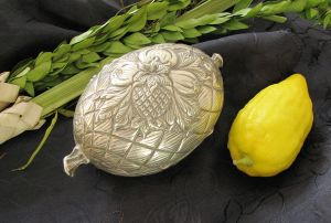 The Succot citron is protectively wrapped in silky flax padding and safeguarded in a covered ornamental box