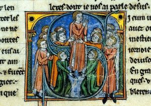 Godfrey of Bouillon (center) as depicted in a 13th Century illustration at the British Museum