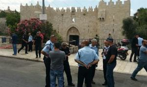 Cops at Damascus Gate soon after the recent stabbing