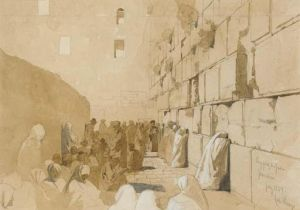 Jews praying at the Western Wall – an 1859 painting by Carl Haag.